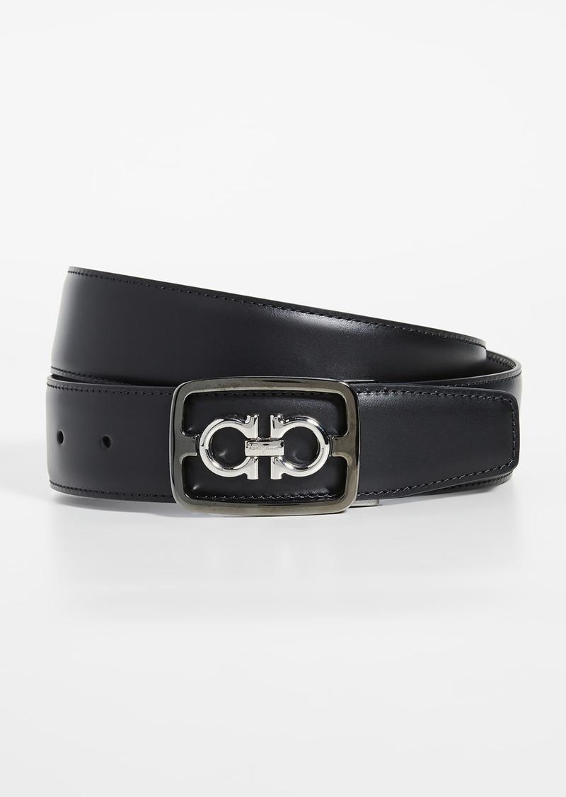 Salvatore Ferragamo Framed Double Gancio Adjustable Belt