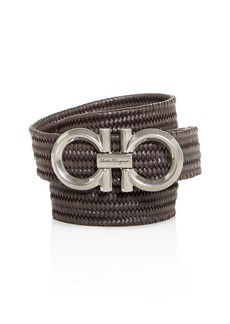 Salvatore Ferragamo Men's Gancini Buckle Woven Leather Belt