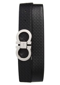 Salvatore Ferragamo Gancini Embossed Reversible Leather Belt