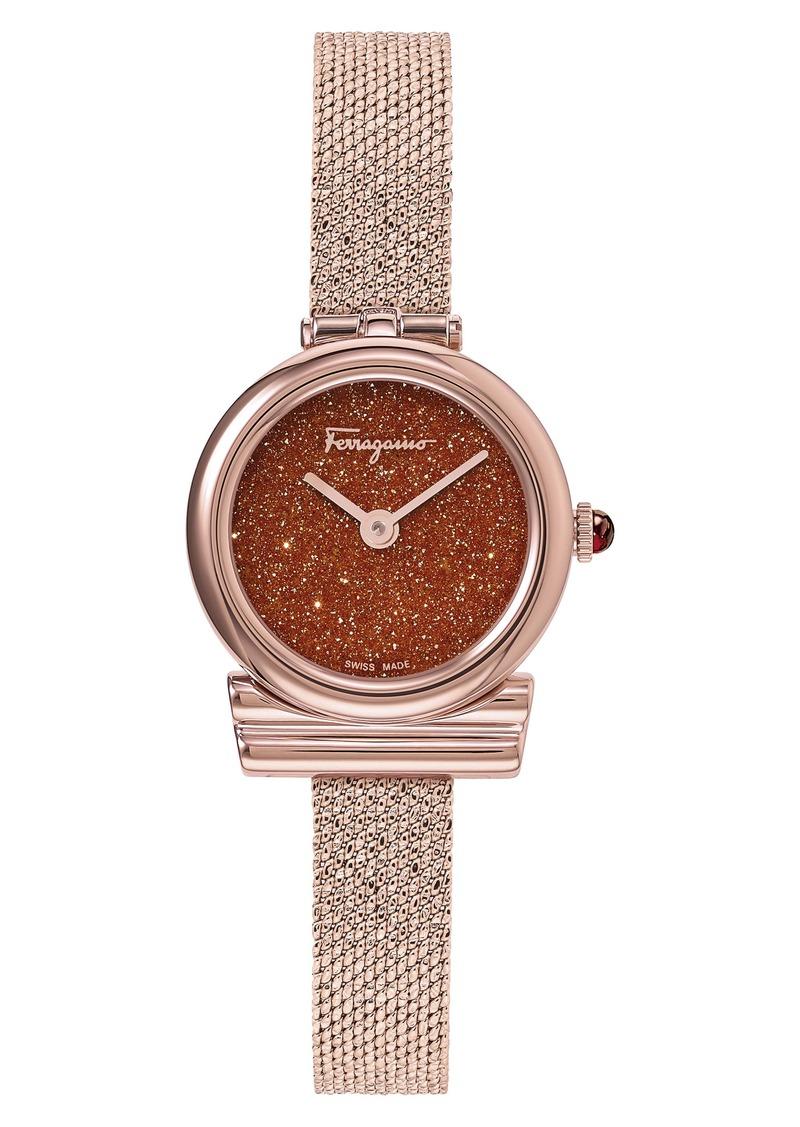 Salvatore Ferragamo Gancini Holiday Capsule Mesh Strap Watch, 22mm