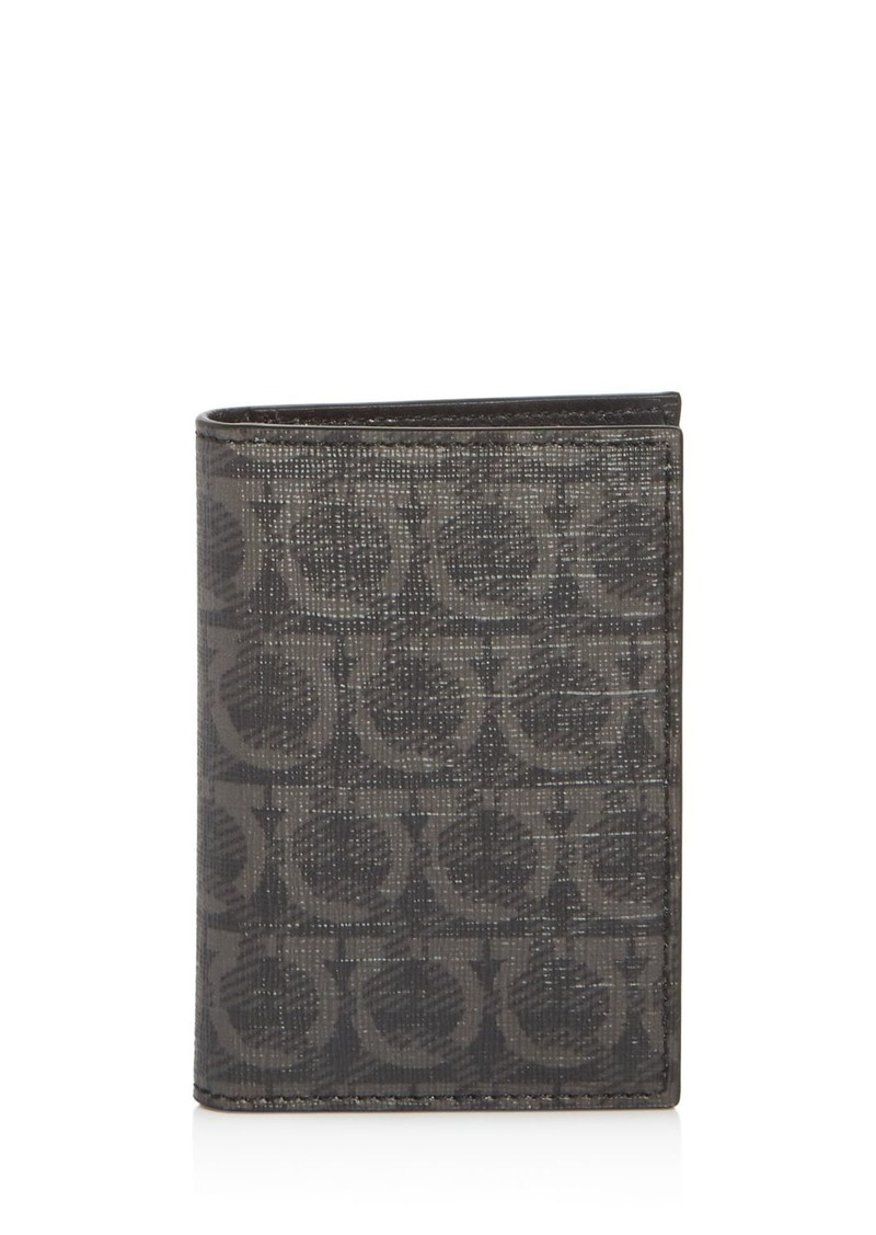 Salvatore Ferragamo Gancini-Print Vertical Card Case