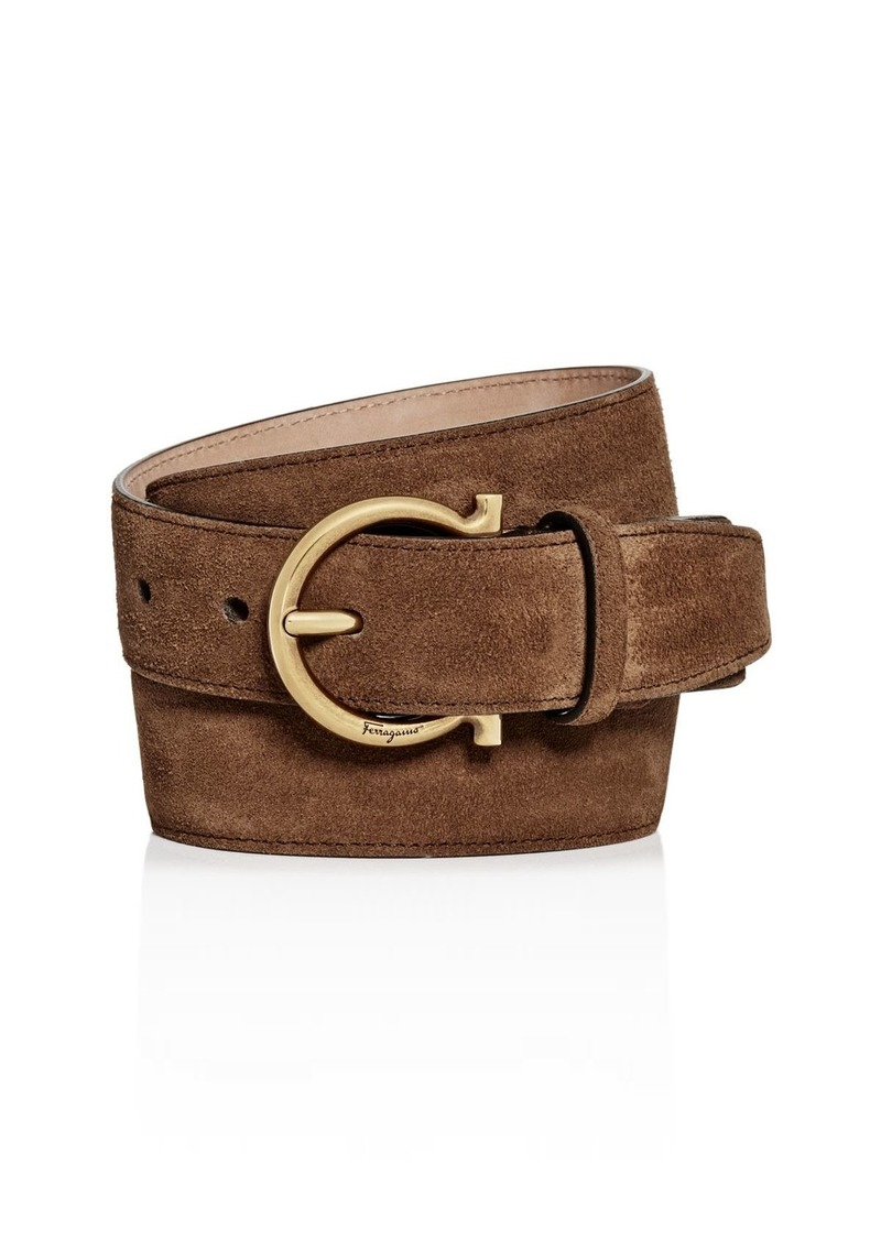 Salvatore Ferragamo Men's Gancini Suede Belt