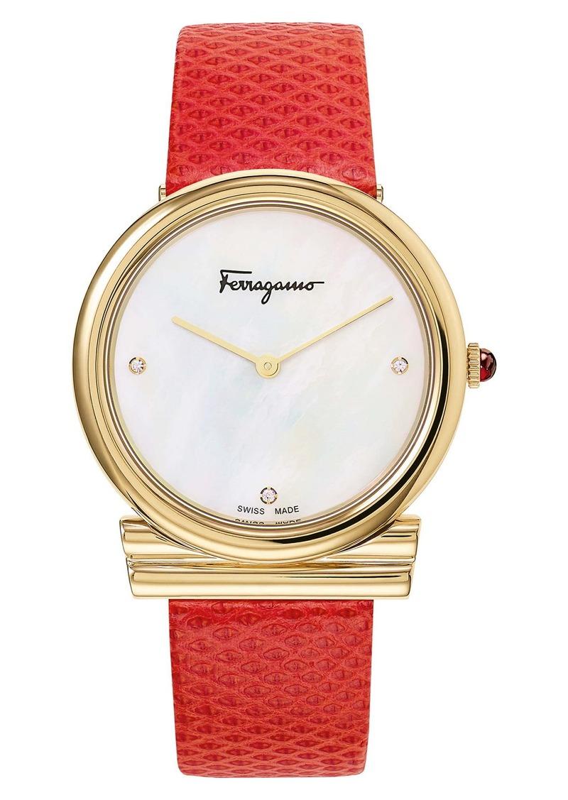Salvatore Ferragamo Gancino Slim Karung Leather Strap Watch, 34mm