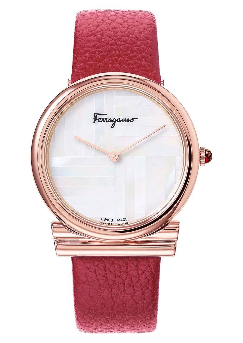 Salvatore Ferragamo Gancino Slim Leather Strap Watch, 34mm