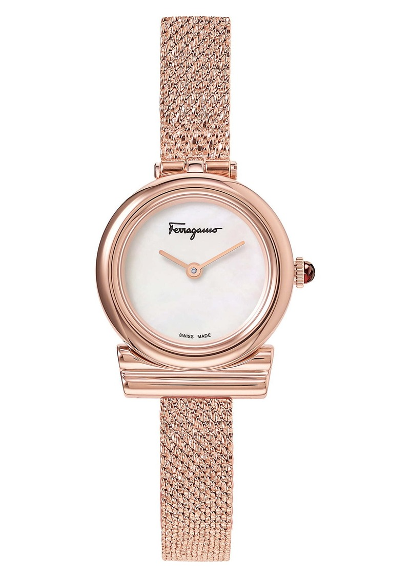 Salvatore Ferragamo Gancino Slim Mesh Strap Watch, 22mm