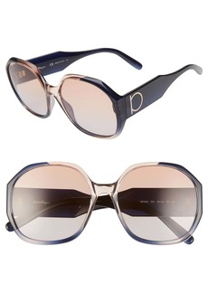 Salvatore Ferragamo Gancio 60mm Geometric Sunglasses