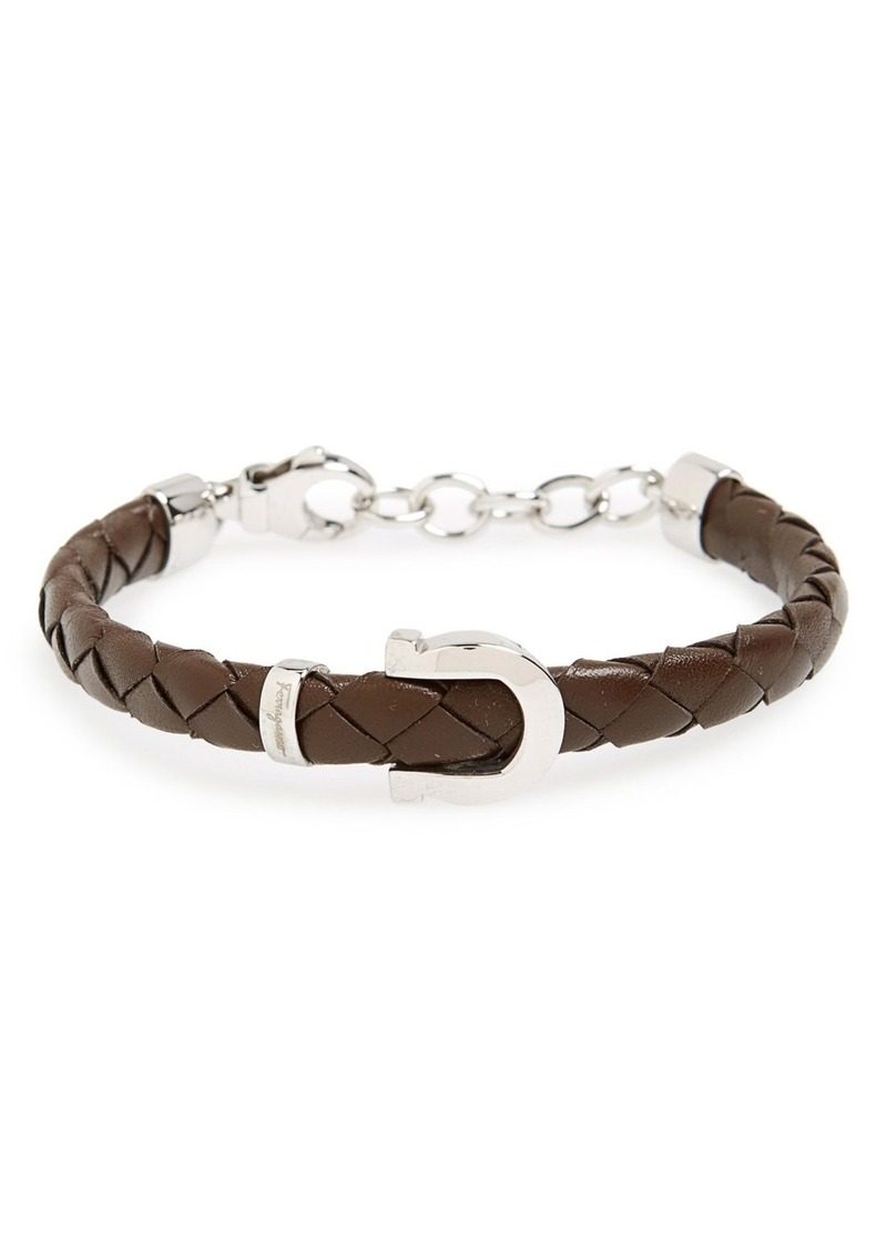 Salvatore Ferragamo Gancio Braided Leather Bracelet