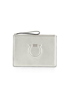 Ferragamo Gancio City Metallic Leather Wristlet Pouch Bag