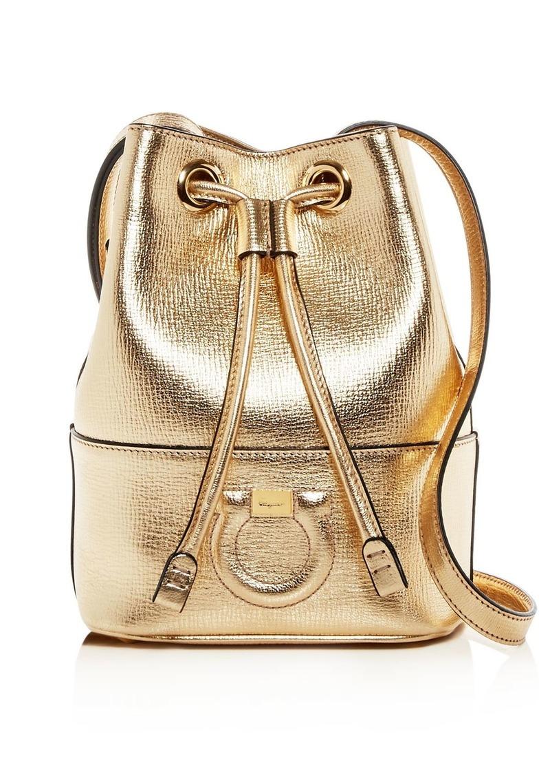 Salvatore Ferragamo Gancio City Small Leather Bucket Bag