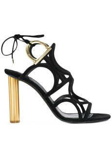 Salvatore Ferragamo Gancio flower heel sandals - Black