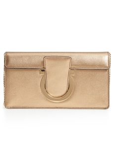 Salvatore Ferragamo Gancio Metallic Leather Clutch