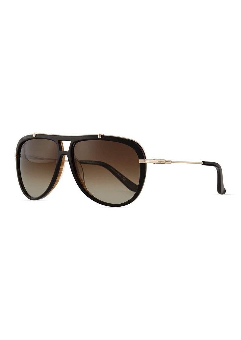 8a4da7f3967 Ferragamo Salvatore Ferragamo Gladiator Metal Acetate Sunglasses ...