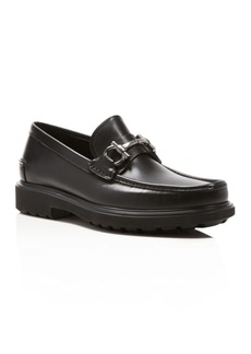 Salvatore Ferragamo Calfskin Leather Loafers with Rubber Lug Sole