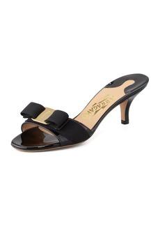 Salvatore Ferragamo Patent Bow Slide Sandal
