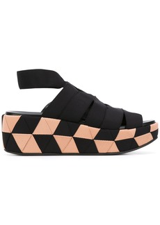 Salvatore Ferragamo grosgrain wedge sandals - Black
