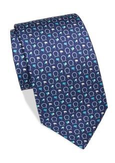 Ferragamo Horseshoe Print Silk Tie
