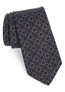 Salvatore Ferragamo Ibis Gancini Print Wool & Yak Tie