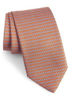 Salvatore Ferragamo Indaco Print Silk Tie