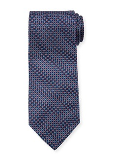 Ferragamo Interlocking Gancini-Print Silk Tie