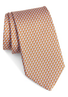 Salvatore Ferragamo Irvin Elephant Print Silk Tie