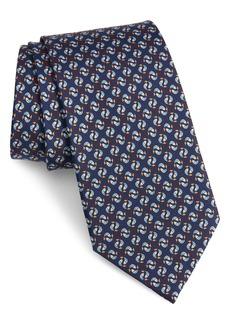 Salvatore Ferragamo Ittico Fish Print Silk Tie