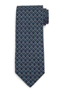 Ferragamo Large-Gancini Print Silk Tie