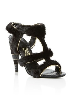 Salvatore Ferragamo Larix Mink Fur Strappy High Heel Sandals