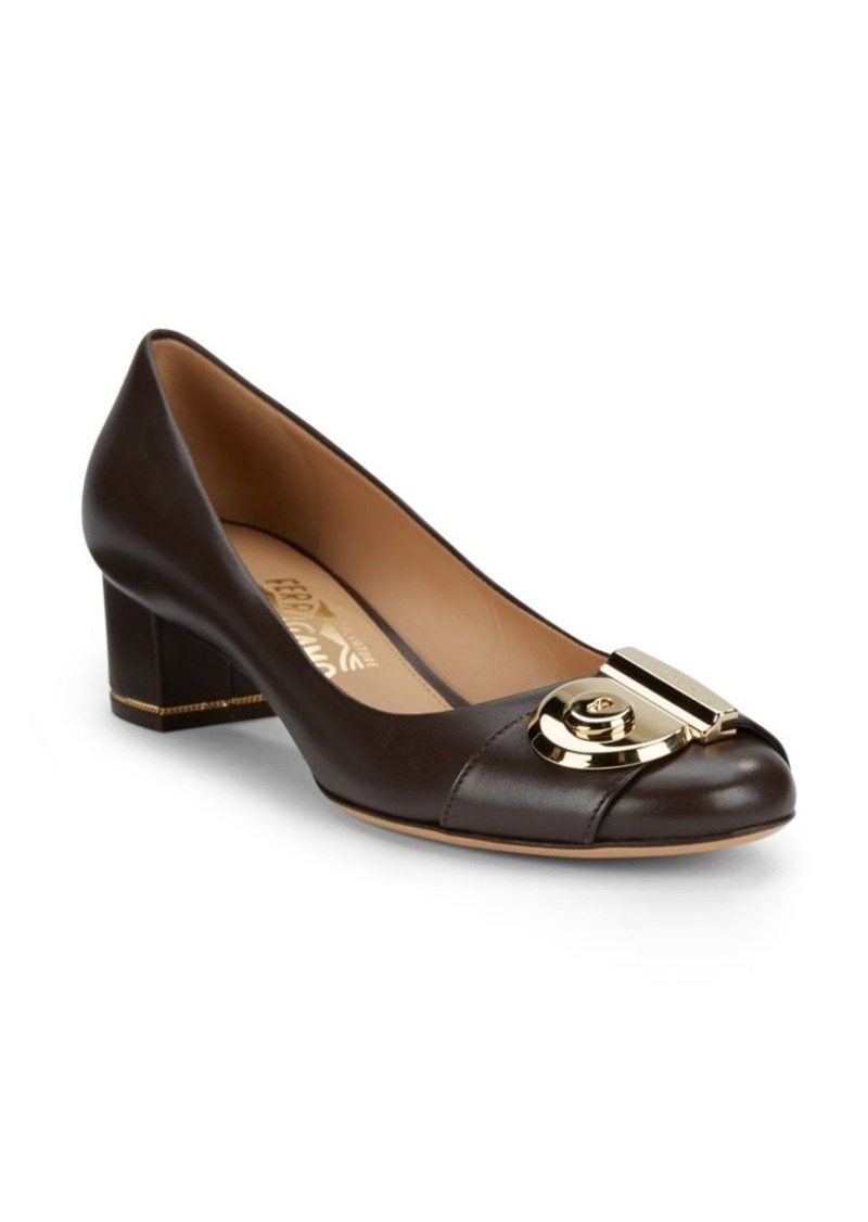 Salvatore Ferragamo Leather Block Heel Pumps