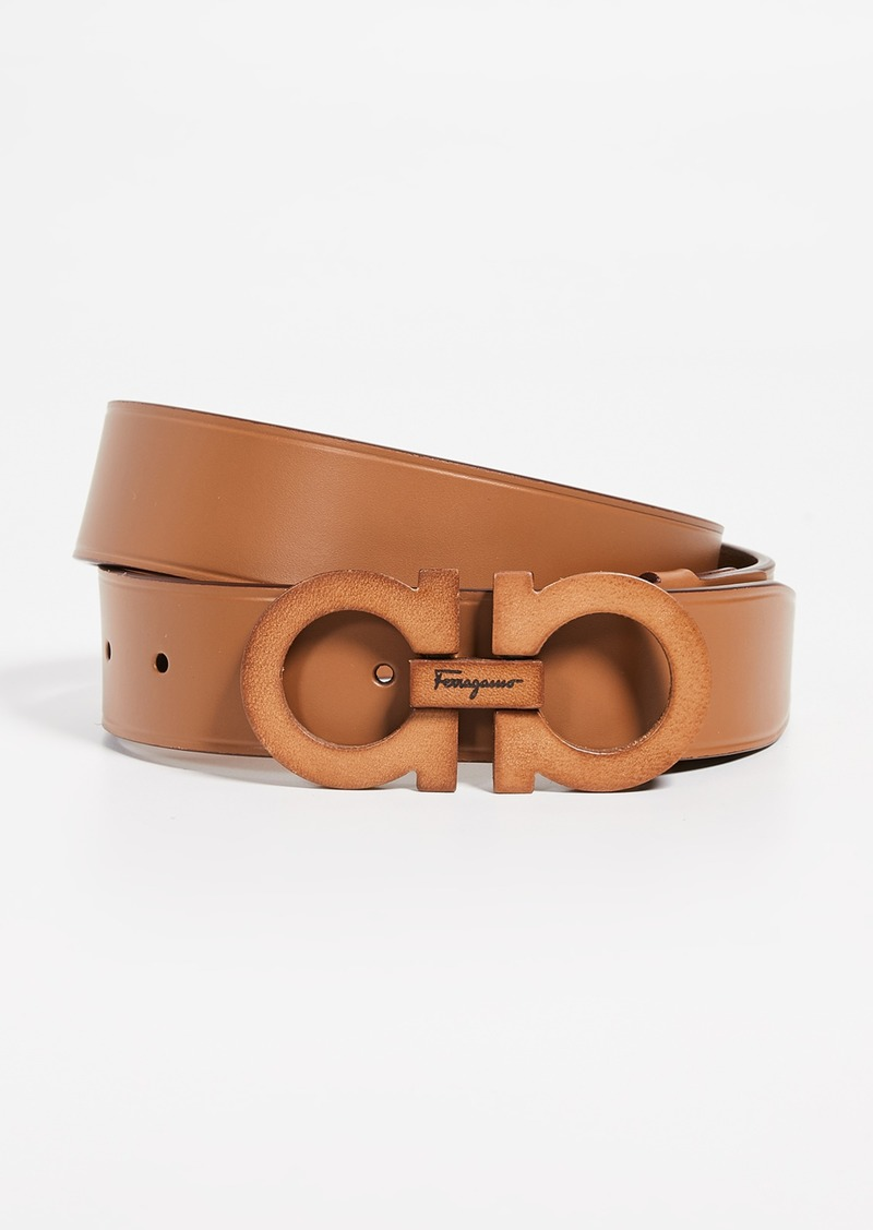 Salvatore Ferragamo Leather Covered Gancini Belt