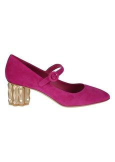 Salvatore Ferragamo Leather Crystal Heel Pumps