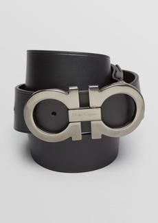 Salvatore Ferragamo Leather Double-Gancini Power Buckle Belt