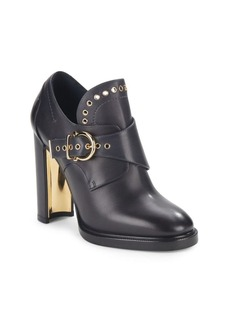 Salvatore Ferragamo Leather Gancio Buckle Monk Strap Booties