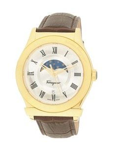 Ferragamo Leather Strap & Stainless Steel Analog Watch