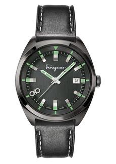 Salvatore Ferragamo Leather Strap Watch, 40mm