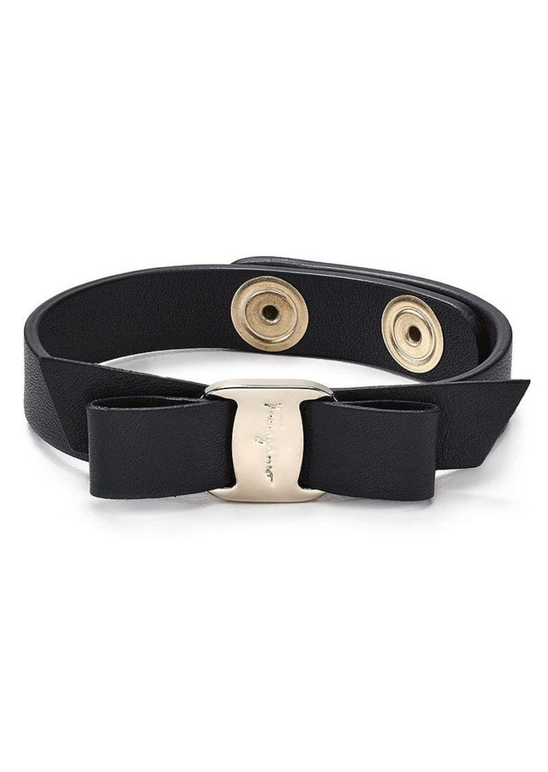 Salvatore Ferragamo Leather Vara Single Wrap Bracelet
