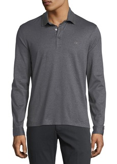 Ferragamo Men's Long-Sleeve Polo Shirt with Gancini Chest Embroidery