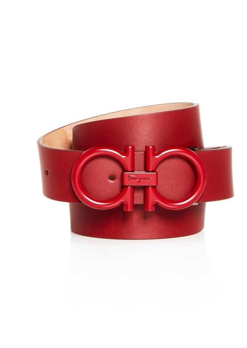 Salvatore Ferragamo Men's Matte Double Gancini Buckle Reversible Leather Belt