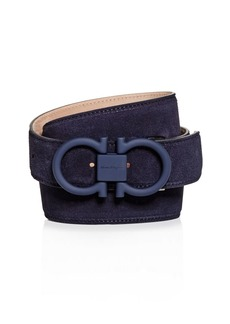 Salvatore Ferragamo Men's Matte Double Gancini Buckle Suede Belt