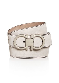Salvatore Ferragamo Matte Double Gancini Buckle Suede Belt