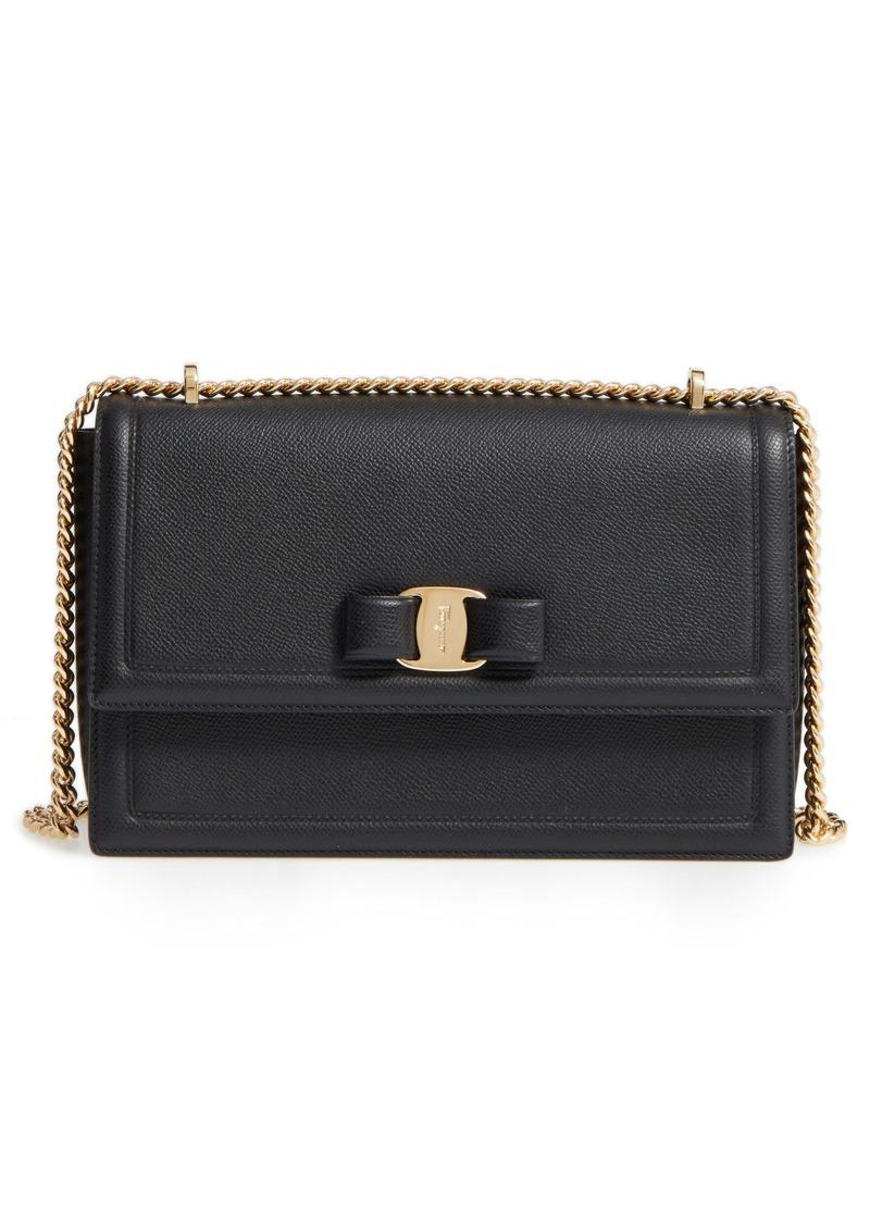 Salvatore Ferragamo Medium Ginny Grained Leather Bow Shoulder Bag