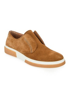 Salvatore Ferragamo Men's Amber Suede Slip-On Sneakers