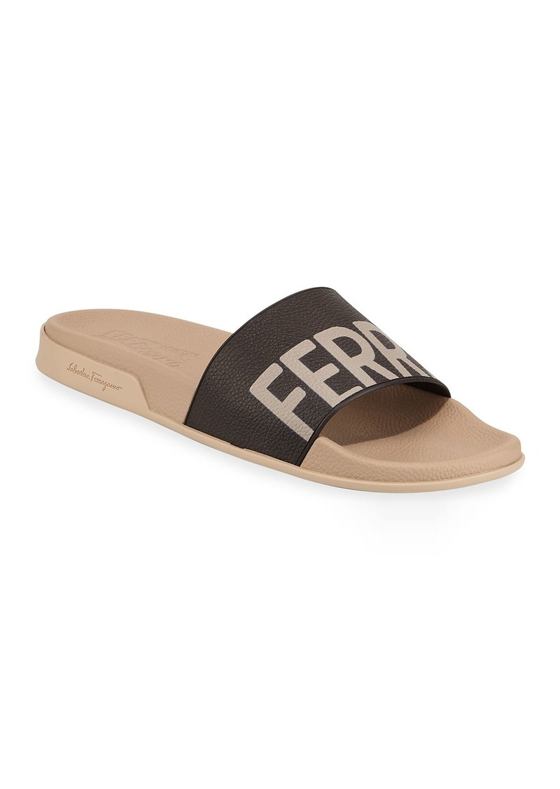 Salvatore Ferragamo Men's Amos Logo Pool Slides