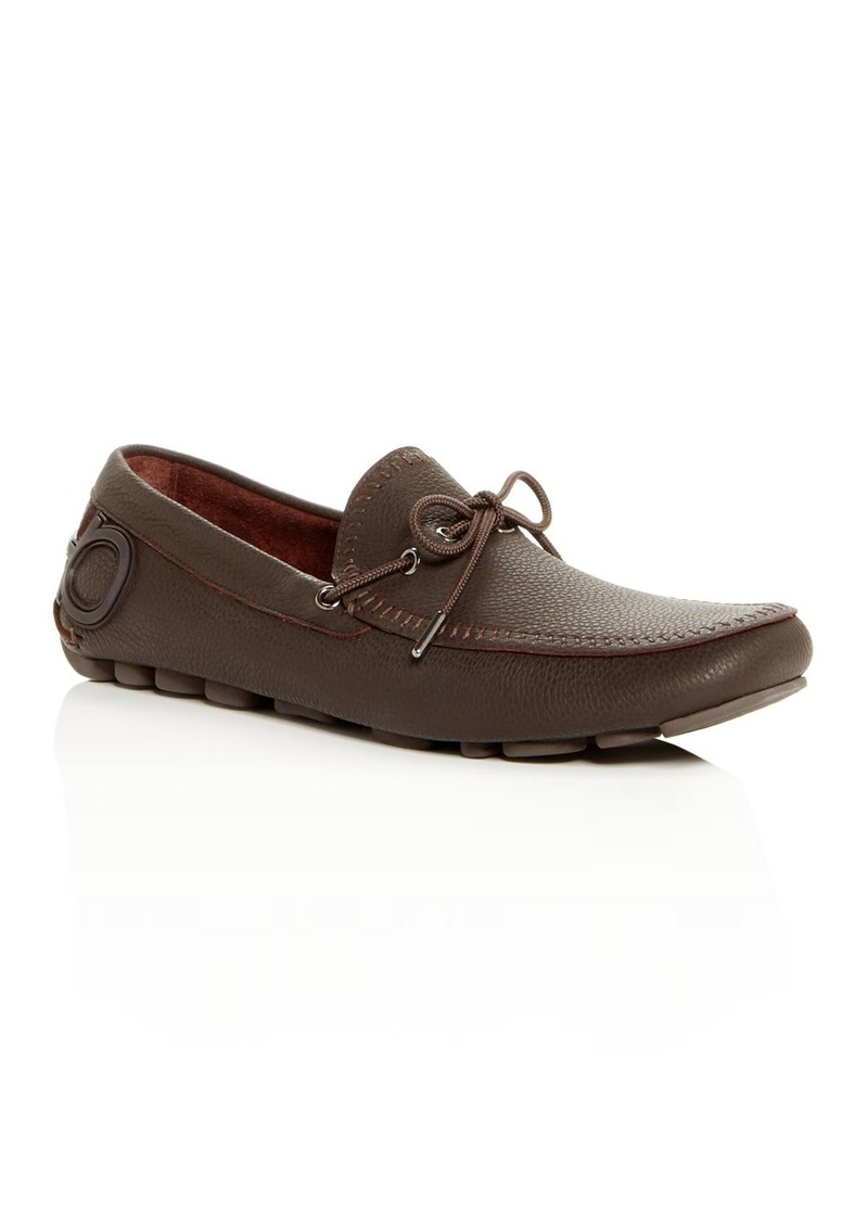 Salvatore Ferragamo Men's Atlante Leather Moc-Toe Drivers