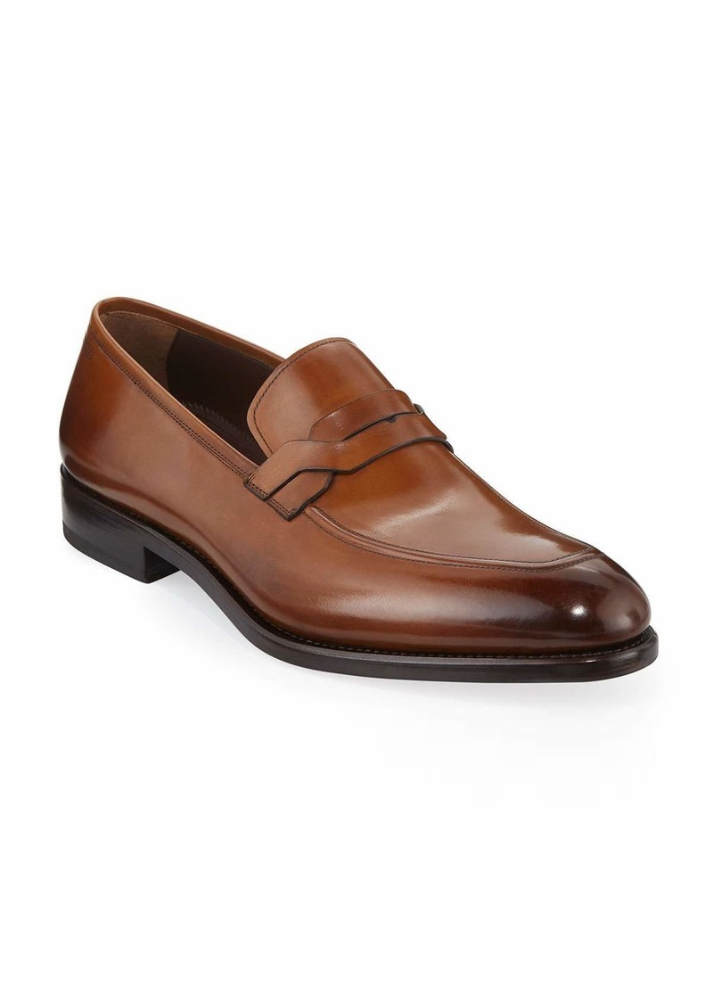 Salvatore Ferragamo Men's Backer Braided Burnished Leather Loafer