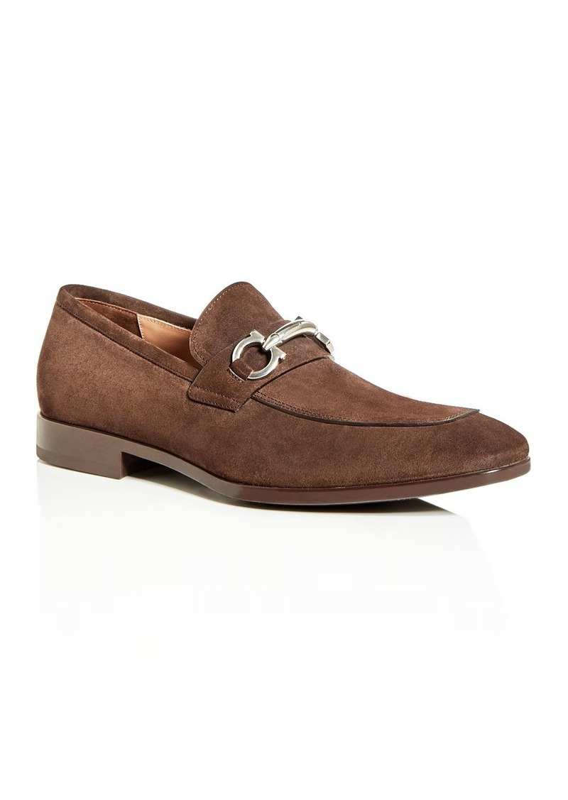 Salvatore Ferragamo Men's Benford Suede Apron-Toe Loafers