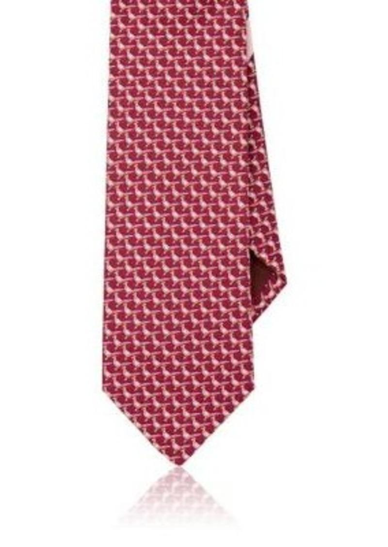 Salvatore Ferragamo Men's Bird-Print Silk Necktie-BURGUNDY