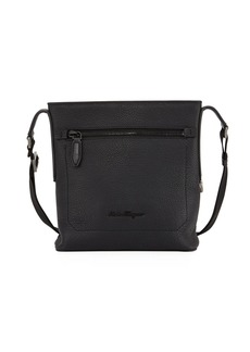 Ferragamo Men's Black on Black Pebbled Leather Crossbody Bag