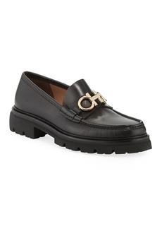 Salvatore Ferragamo Men's Bleecker Leather Lug-Sole Loafers with Reversible Bit