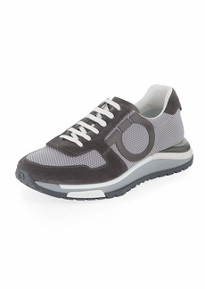 Salvatore Ferragamo Men's Brooklyn Mixed-Media Trainer Sneakers