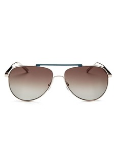 Salvatore Ferragamo Men's Brow Bar Aviator Sunglasses, 63mm